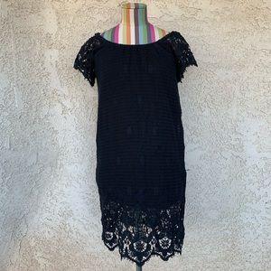 Scoop NYC Black Crochet Mini Dress